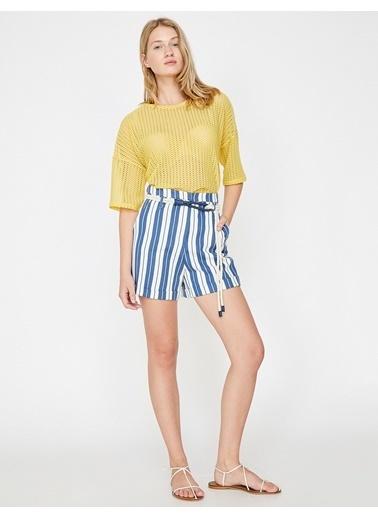 Koton Dantel Detaylı T-Shirt Sarı